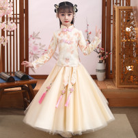 Dress female Dinielephant / dinielephant 110cm,120cm,130cm,140cm,150cm,160cm Polyester 100% winter princess Long sleeves Broken flowers other A-line skirt Class B 2, 3, 4, 5, 6, 7, 8, 9, 10, 11, 12, 13, 14 years old Chinese Mainland