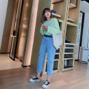 Women's large Summer 2020, spring 2020 blue 30,32,34,36,38,40 Jeans Solid color Polyester, cotton, others Ninth pants