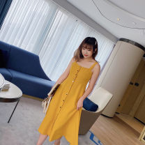 Women's large Spring 2021, summer 2021 Yellow, black Large XL, large XXL, large XXL, large XXXXL, large L Dress Solid color Polyester, cotton, others 31% (inclusive) - 50% (inclusive)