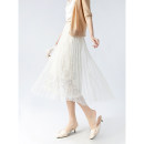 skirt Spring 2021 Average size Black, beige Mid length dress commute High waist A-line skirt Solid color Type A 81% (inclusive) - 90% (inclusive) Lace Other / other other