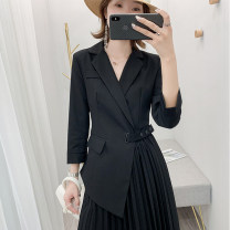Women's large Autumn 2020, spring 2021 Khaki, black Dress singleton  commute easy moderate Socket Long sleeves Solid color Korean version other Medium length polyester Three dimensional cutting routine 25-29 years old belt 96% and above Medium length Pleated skirt Lotus leaf edge