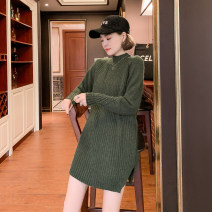 Dress Winter 2020 Average size longuette singleton  Long sleeves commute High collar Loose waist Solid color Socket other routine 35-39 years old Type H Small four original Korean version 51% (inclusive) - 70% (inclusive) other nylon