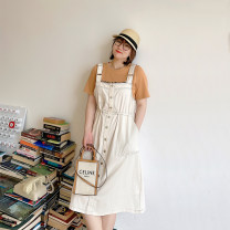 Women's large Summer 2021 white Large XL, large XXL, large XXL, large XXXXL, large XXXXL Dress singleton  commute easy thin Solid color Korean version cotton 4.19 off white strap skirt pocket 96% and above Medium length other straps