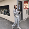 Women's large Spring 2021 Black top, gray top, blue top, black pants, gray pants, blue pants Large L, large XL, large XXL, large XXL, large XXXL Sweater / sweater Two piece set commute easy moderate Socket Long sleeves Solid color Korean version Crew neck routine routine Bandage trousers