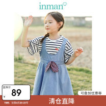 Dress Floral grey denim female Inman / Inman 110cm 120cm 130cm 140cm 150cm 160cm Cotton 95 . seven %  Other 4 . three % summer college Strapless skirt Solid color cotton Denim skirt three billion eight hundred and eighty-two million one hundred and three thousand and seventy-four Class B