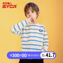 T-shirt Blue, white, black and white Collection Plus order priority delivery Grass man in cloth 120cm 130cm 140cm 150cm 160cm 170cm male spring and autumn Long sleeves Crew neck leisure time There are models in the real shooting nothing other stripe Cotton 95% polyurethane elastic fiber (spandex) 5%