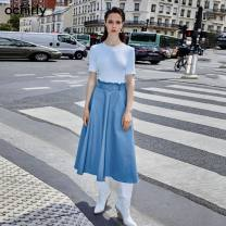 Dress Summer of 2019 Khaki 530 gray blue 620 XS S M L XL Mid length dress Fake two pieces Short sleeve commute Crew neck middle-waisted Solid color other other other Others 25-29 years old Ochirly / Ou Shili Simplicity 1ZY3083470 30% and below nylon Viscose (viscose) 76.2% polyamide (nylon) 23.8%