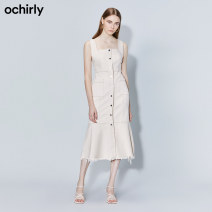 Dress Autumn 2020 Shallow apricot 880 XS S M L XL Middle-skirt singleton  Sleeveless commute other middle-waisted Solid color zipper other routine 25-29 years old Ochirly / Ou Shili Britain zipper 1RY3080050 More than 95% cotton Cotton 98.3% polyurethane elastic fiber (spandex) 1.7%
