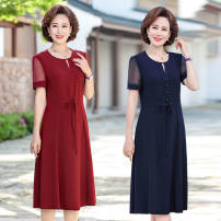 Dress Summer 2021 Navy, Burgundy L [90-105 kg], XL [105-120 kg], 2XL [120-135 kg], 3XL [135-145 kg], 4XL [145-155 kg], 5XL [155-170 kg] Mid length dress singleton  Short sleeve Crew neck A-line skirt routine Type A Other / other 30% and below other