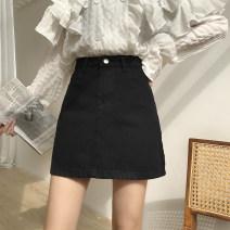 skirt Summer 2021 S 〈 90-100kg 〉, m 〈 100-110kg 〉, l 〈 110-120kg 〉, XL 〈 120-135kg 〉, 2XL 〈 135-150kg 〉, 3XL 〈 150-165kg 〉, 4XL 〈 165-175kg 〉, 5XL 〈 175-200kg 〉 Black, off white, pink Short skirt commute High waist Denim skirt Solid color Type A 18-24 years old Denim