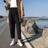 Women's large Summer 2020, spring 2020, autumn 2020 black L (100-120 Jin recommended), XL (120-140 Jin recommended), 2XL (140-160 Jin recommended), 3XL (160-180 Jin recommended), 4XL (180-200 Jin recommended) trousers singleton  commute easy moderate Solid color Korean version Cotton, nylon, others