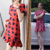 Women's large Summer 2020, spring 2020 Orange 2XL (recommended 135-155 kg), s (recommended 85-95 kg), l (recommended 110-123 kg), XL (recommended 123-135 kg), 4XL (recommended 170-190 kg), 3XL (recommended 155-170 kg), m (recommended 95-110 kg) Dress singleton  Sweet easy thin Socket Short sleeve