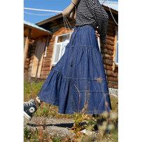 skirt Winter 2020 S,M,L Denim blue, light brown Mid length dress Versatile High waist Irregular Solid color Type A L3203 More than 95% brocade Deer and birds cotton Splicing