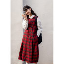 Dress Winter 2020 S,M,L Mid length dress singleton  Sleeveless Sweet Crew neck High waist lattice Socket Princess Dress other Others 18-24 years old Type A Deer and birds fold More than 95% other other college