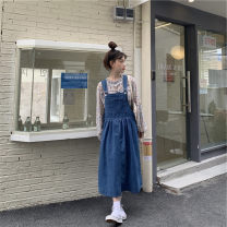Dress Spring 2021 blue S,M,L Mid length dress singleton  Sleeveless commute square neck High waist Solid color Socket A-line skirt straps 18-24 years old Type A Korean version 91% (inclusive) - 95% (inclusive) Denim other