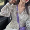 Dress Spring 2021 Purple Floral Dress XS,S,M,L Middle-skirt singleton  Long sleeves commute V-neck High waist Broken flowers Socket other routine 18-24 years old Type H Korean version printing
