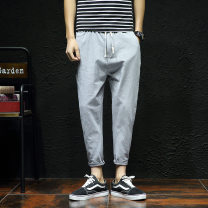 Casual pants Posi / Perth Youth fashion Black, Navy, dark grey, white, green, khaki, red, light grey XL,4XL,5XL,L,M,XXL,XXXL routine Ninth pants Other leisure easy Micro bomb X303A-K35 summer youth Exquisite Korean style 2019 middle-waisted Little feet pocket No iron treatment Solid color other