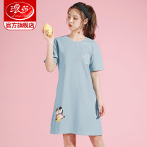 Nightdress Ronsa FY5025 FY5021 FY5026 FY5009 FY5012 FY5012-1 FY5018 FY5018-1 FY5007 FY5024 FY5002 FY5009-1 FY5001-1 FY5001 FY5011 160(M) 165(L) 170(XL) 175(XXL) Simplicity Short sleeve Leisure home Middle-skirt summer other youth Crew neck cotton printing More than 95% pure cotton Summer 2020