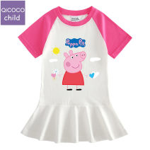 Dress Pink, rose, pink A1, pink A2, pink A3, rose A1, rose A2, rose A3 female Other / other 90cm,100cm,110cm,120cm,130cm,140cm Cotton 100% summer leisure time Short sleeve Cartoon animation Pure cotton (100% cotton content) A-line skirt Class A Three, four, five, six, seven, eight Chinese Mainland