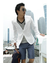 man 's suit White, navy blue EBBUXIDA Youth fashion thin S,M,L,XL,2XL,3XL Flax 30% other 70% Self cultivation Double breasted Other leisure Double slit youth Long sleeves summer routine Exquisite Korean style Casual clothes Flat lapel Round hem Solid color Regular collar (collar width 7-9cm) 2020