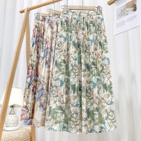 skirt Spring 2020 Average size Mid length dress commute High waist Pleated skirt Abstract pattern 25-29 years old 91% (inclusive) - 95% (inclusive) Chiffon other Printing / dyeing