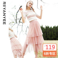 skirt Summer 2021 S,M,L,XL White, black, pink Mid length dress commute Natural waist Cake skirt Solid color Type A 35-39 years old 10S9072 More than 95% other Yan Yu other Pleats, gauze, lace lady