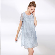 Dress Summer 2021 Black, light blue S,M,L,XL,XXL Mid length dress singleton  Short sleeve commute Crew neck middle-waisted Socket A-line skirt routine 35-39 years old Type A Yan Yu lady 20S8447 More than 95% Lace polyester fiber