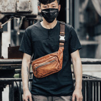 Men's bag Chest pack cowhide Other / other Brown Black brand new travel Street trend zipper soft in yes Zipper hidden bag mobile phone bag sandwich zipper bag Solid color Yes Single root youth Dumpling shape polyester cotton locomotive M708 Telescopic handle set-in pocket 8 inches cowhide