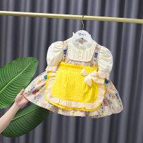 Dress female Other / other 73cm,80cm,85cm,90cm,100cm,110cm,120cm Cotton 90% other 10% summer Korean version Long sleeves Cotton blended fabric Pleats 12 months, 3 years, 18 months, 9 months, 6 months, 2 years, 5 years, 4 years Chinese Mainland