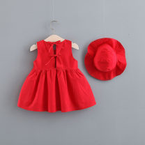 Dress female Other / other 73cm,80cm,85cm,90cm,100cm,110cm Cotton 95% other 5% summer Korean version Skirt / vest Cotton blended fabric Pleats 12 months, 9 months, 18 months, 2 years, 3 years, 4 years
