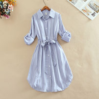 Dress Spring 2020 Blue, white, black, pink S,M,L,XL,2XL Mid length dress singleton  Long sleeves Sweet Polo collar middle-waisted stripe Single breasted Irregular skirt shirt sleeve Others 25-29 years old Type A Yi Meiyuan Bowknot, lace, stitching, thread, three-dimensional decoration Long dress