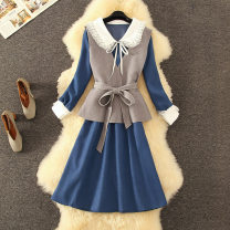 Dress Spring 2021 Grey Vest + baby collar blue skirt, grey Vest + baby collar apricot skirt S,M,L,XL,2XL longuette Two piece set Long sleeves commute V-neck High waist Solid color Socket A-line skirt routine 25-29 years old Type A CINISIOR bow fashion dress  81% (inclusive) - 90% (inclusive)