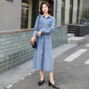 Dress Autumn 2020 Picture color S,M,L,XL,2XL longuette singleton  Long sleeves commute Polo collar High waist Solid color Single breasted Big swing routine Others 25-29 years old Type X Nicanila Korean version pocket NKNL20CL661#9.14 More than 95% Denim polyester fiber