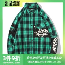 shirt Youth fashion l am l i cka M,L,XL,2XL,3XL green routine Pointed collar (regular) Long sleeves easy Other leisure autumn teenagers Cotton 95% polyurethane elastic fiber (spandex) 5% tide 2019 other Plaid No iron treatment cotton printing Easy to wear More than 95%