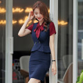 Dress Autumn of 2019 S,M,L,XL,2XL,3XL,4XL,5XL Middle-skirt singleton  Sleeveless commute V-neck middle-waisted Solid color Single row two buttons Others Type X Zhengduo Ol style YR2100