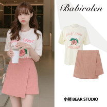 skirt Summer 2020 S,M,L,XL Off white T-shirt, pink skirt Short skirt Sweet High waist A-line skirt Solid color Type A 18-24 years old Other / other Lotus leaf edge college