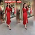 Dress Autumn of 2019 Red dress, black dress S,M,L,XL,2XL AI garment Cen