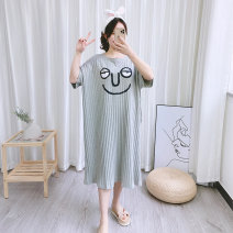 Nightdress Other / other Grey, pink, navy Simplicity Short sleeve Leisure home longuette summer Cartoon animation youth Crew neck cotton printing More than 95% Knitted cotton fabric 200g and below