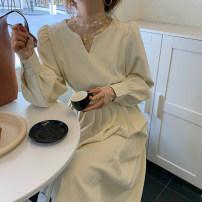Dress Spring 2021 Perspective flower base shirt, cream apricot dress Average size
