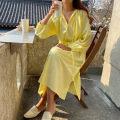 Dress Summer 2020 Light green, light yellow Average size longuette singleton  Long sleeves other other other other puff sleeve 18-24 years old other other