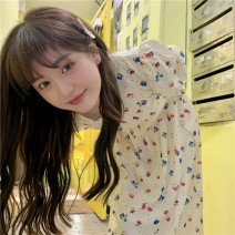 Dress Summer 2021 Picture color Average size Miniskirt singleton  Short sleeve commute V-neck High waist Broken flowers puff sleeve 18-24 years old Type A Korean version 31% (inclusive) - 50% (inclusive) cotton