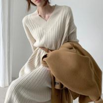 Dress Winter 2020 Brown, beige Average size singleton  Long sleeves commute V-neck Solid color other other other 35-39 years old Other / other 31% (inclusive) - 50% (inclusive) other other