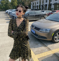 Dress Summer 2020 Picture color spot S,M,L Short skirt singleton  Long sleeves commute V-neck High waist Decor A-line skirt routine Other / other 91% (inclusive) - 95% (inclusive) polyester fiber