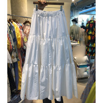 skirt Spring 2021 S,M,L,XL White, black longuette commute High waist A-line skirt Solid color Type A 18-24 years old 51% (inclusive) - 70% (inclusive) Korean version