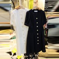 Dress Summer 2021 Black, white L,M,XL,S Mid length dress singleton  Short sleeve commute V-neck High waist Solid color Single breasted A-line skirt routine 18-24 years old Type A Korean version Button 51% (inclusive) - 70% (inclusive) cotton