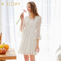 Dress Spring 2020 Ben White, big red, sand pink S,M,L,XL Mid length dress singleton  Long sleeves commute V-neck High waist Solid color Socket Big swing pagoda sleeve 18-24 years old Type A Ailian lady Lace, lace 191181A628 51% (inclusive) - 70% (inclusive) Lace nylon