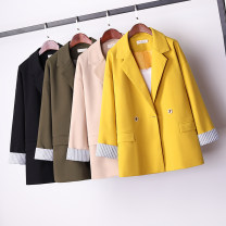 Women's large Spring 2021 Black, apricot, yellow M suggests 80-105 Jin, l 105-125 Jin, XL 125-150 Jin, 2XL 150-165 Jin, 3XL 165-185 Jin, 4xl1 185-220 Jin suit singleton  commute easy thick Cardigan Long sleeves Solid color Korean version routine hemp Three dimensional cutting Button