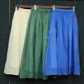 skirt Spring 2021 M, L Green, blue, light apricot longuette Versatile Natural waist A-line skirt Solid color Type A More than 95% other hemp
