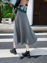 skirt Autumn 2020 Average size Apricot, grey, purple, black Middle-skirt A-line skirt Solid color knitting Other / other