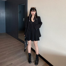 Women's large Autumn 2020 Black, Atmospheric Black L [90-115 Jin recommended], XL [115-130 Jin recommended], 2XL [130-145 Jin recommended], 3XL [145-160 Jin recommended], 4XL [160-180 Jin recommended] Dress Two piece set commute easy moderate Socket Long sleeves Solid color Korean version Polo collar